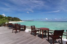 Free Chairs And Desk Near The Beach, Maldives Stock Image - 21176971