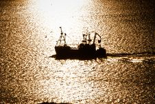 Free Working Fishing Boat During Sunset Stock Images - 21177104