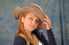 Girl With Hat Royalty Free Stock Photo