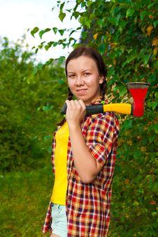 Free Young Woman Carrying An Axe Stock Photos - 21179213