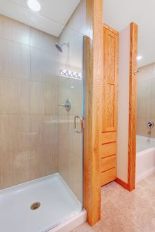 Free Shower And Tub In A New Bathroom With Closet Stock Image - 21179351