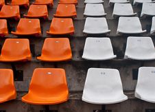 Front Of The Orange Seats On The Stadium Stock Images