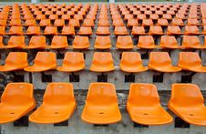 Free Front Of The Orange Seats On The Stadium Royalty Free Stock Photo - 21179455