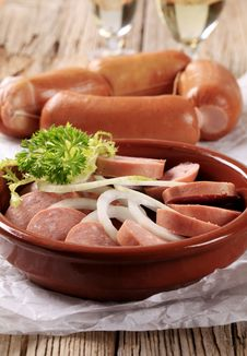 Free Sliced Sausages And Onion Stock Photo - 21179550