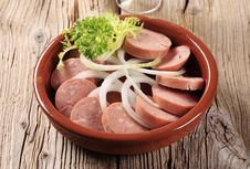 Free Sliced Sausages And Onion Stock Photos - 21179573