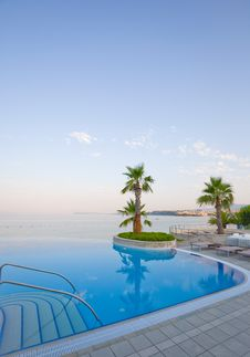 Infinity Pool With Stunning Sea View Stock Images