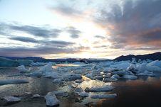 Free Sunset At Jökulsárlón Stock Photography - 21180012
