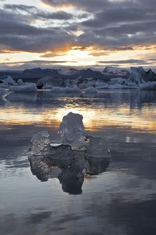 Free Ice By The Sunset In Jökulsárlón Stock Images - 21180134