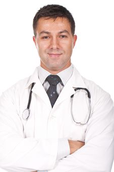 Doctor Standing With Arms Crossed And Smiling Royalty Free Stock Images