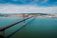 Free Bridge Over Tagus River Royalty Free Stock Images - 21181099