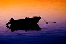 Free Anchored Boat At Sunset Stock Images - 21181104