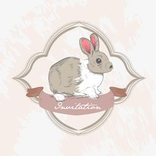 Free Classic Bunny Grunge Card Royalty Free Stock Photography - 21181307
