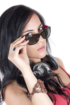 Free Woman With Headphones Stock Images - 21182714