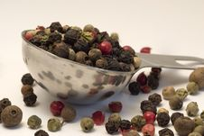 Mixed Peppercorns On Spoon