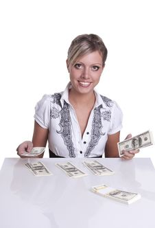 Free Business Woman Counts The Money Royalty Free Stock Photo - 21186655