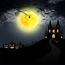 Free Full Moon On Halloween. Royalty Free Stock Photography - 21186917