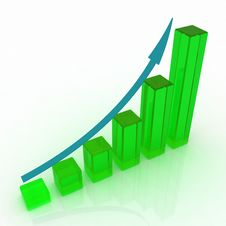 3d Growing Business Graph Royalty Free Stock Images