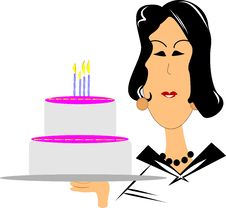 Free Mature Woman With Birthday Cake Royalty Free Stock Photo - 21189725