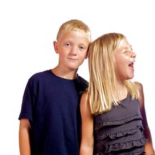 Free Young Boy Annoyed With Sister. Royalty Free Stock Images - 21189849