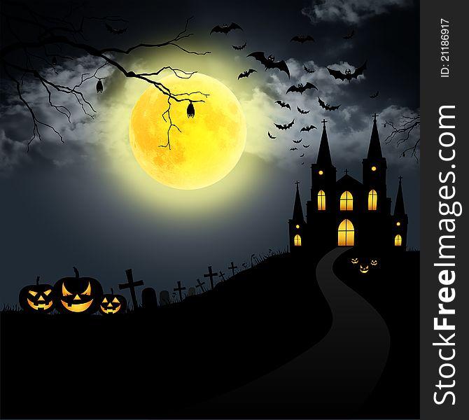 Full moon on Halloween.