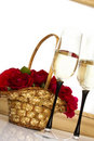 Free Basket With Roses And Champagne Royalty Free Stock Image - 21196606