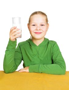 Free Happy Little Girl With A Glass Of Milk Royalty Free Stock Image - 21190306