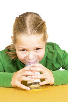 Free Happy Little Girl With A Glass Of Milk Stock Photography - 21190322