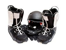 Free Snowboard Boots, Helmet, Gloves, Glasses Royalty Free Stock Image - 21191346