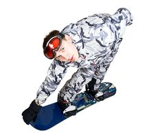 Portrait Of Boy In Sportswear With Snowboard Royalty Free Stock Images