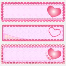 Free 3 Valentine S Banner Royalty Free Stock Photography - 21191557