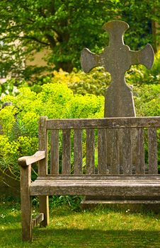 Free Rustical Bench In Blossom Graveyard Stock Photography - 21191732