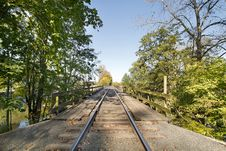 Free Train Track On Wooden Bridge Stock Photos - 21192333