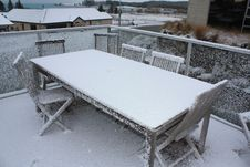 Free Snow On Wooden Table And Chairs Royalty Free Stock Images - 21193149