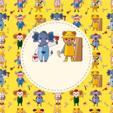 Free Cartoon Animal Worker Card Stock Photo - 21193830