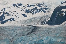 Meandering Surprise Glacier In Mountain Stock Photos
