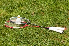 Free Two Badminton Rackets And Shuttlecock On The Grass Stock Photo - 21195170