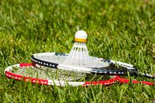 Free Two Badminton Rackets And Shuttlecock Closeup Stock Photos - 21195183