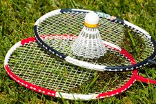 Free Two Badminton Rackets And Shuttlecock Closeup Stock Images - 21195204