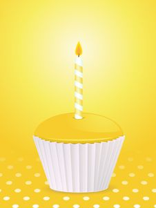 Free Yellow Birthday Cupcake And Candle Stock Image - 21195591