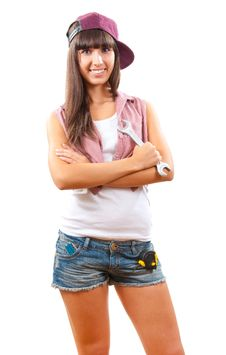 Free Young Girl With Spanner Royalty Free Stock Image - 21196166