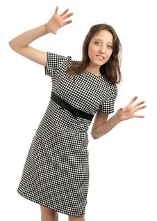 Free Young Caucasian Woman With Hands Up Stock Photos - 21196233