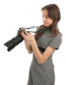 Free Young Girl With The Camera Stock Images - 21196244