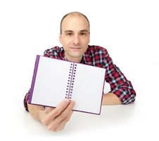 Free Man Showing Notepad Royalty Free Stock Image - 21196246