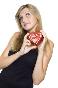 Free Smiling Young Woman Holding A Heart Stock Photos - 21197203