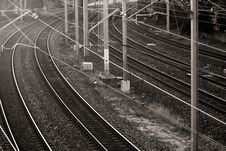 Free Railway Lines In Black And White Royalty Free Stock Photography - 21197727