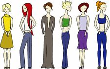 Free Illustration Of Six Women. Royalty Free Stock Photo - 2120565