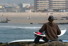 Surfer And Board Stock Images
