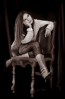 Calm Girl Sitiing Stock Photo