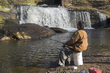 Free Water Falls & Fishing Stock Image - 2126001