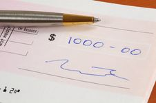 One Thousand Dollars Cheque Royalty Free Stock Photo
